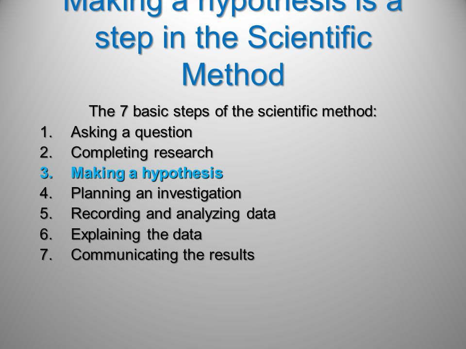 Making a hypothesis is a step in the Scientific Method