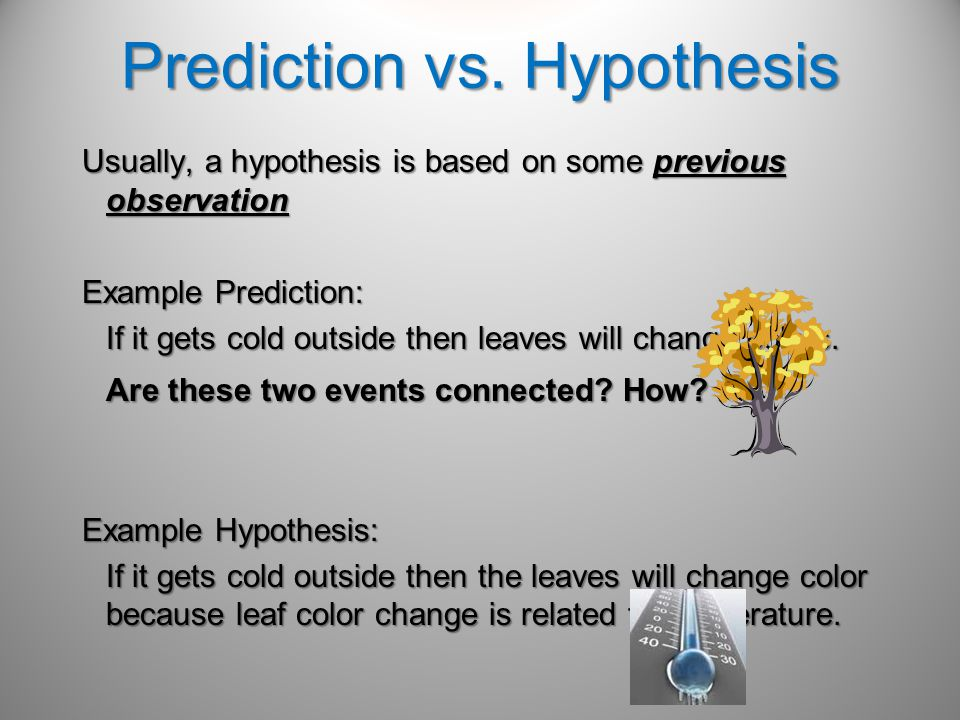 Prediction vs. Hypothesis