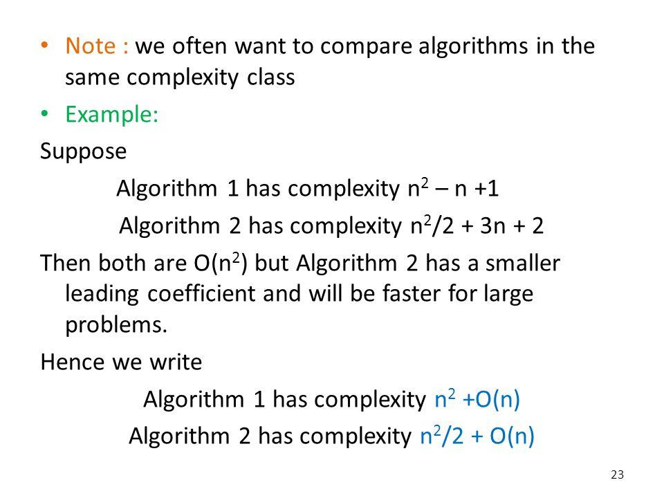 Algorithm 1 has complexity n2 – n +1