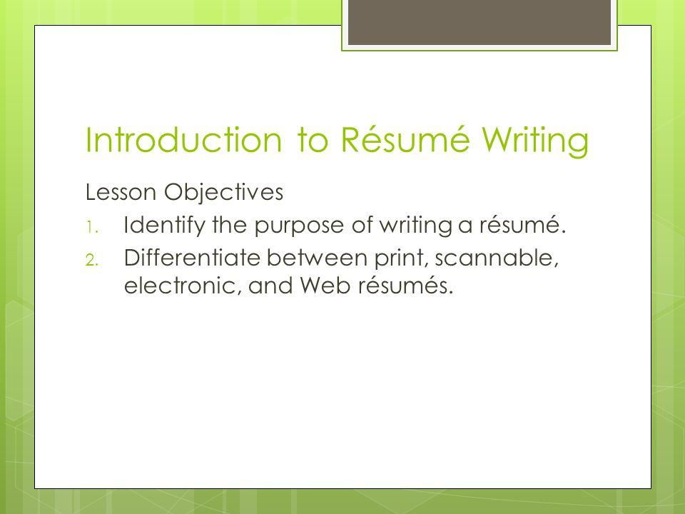 Introduction to Résumé Writing