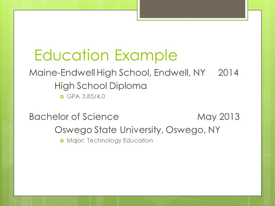 Education Example Maine-Endwell High School, Endwell, NY 2014