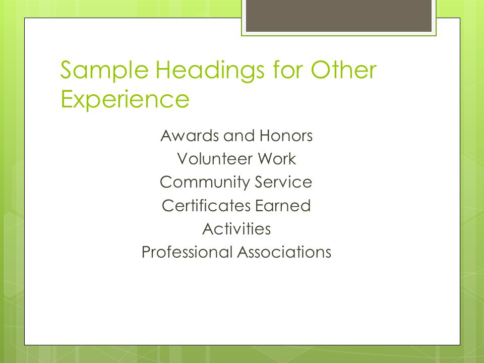 Sample Headings for Other Experience