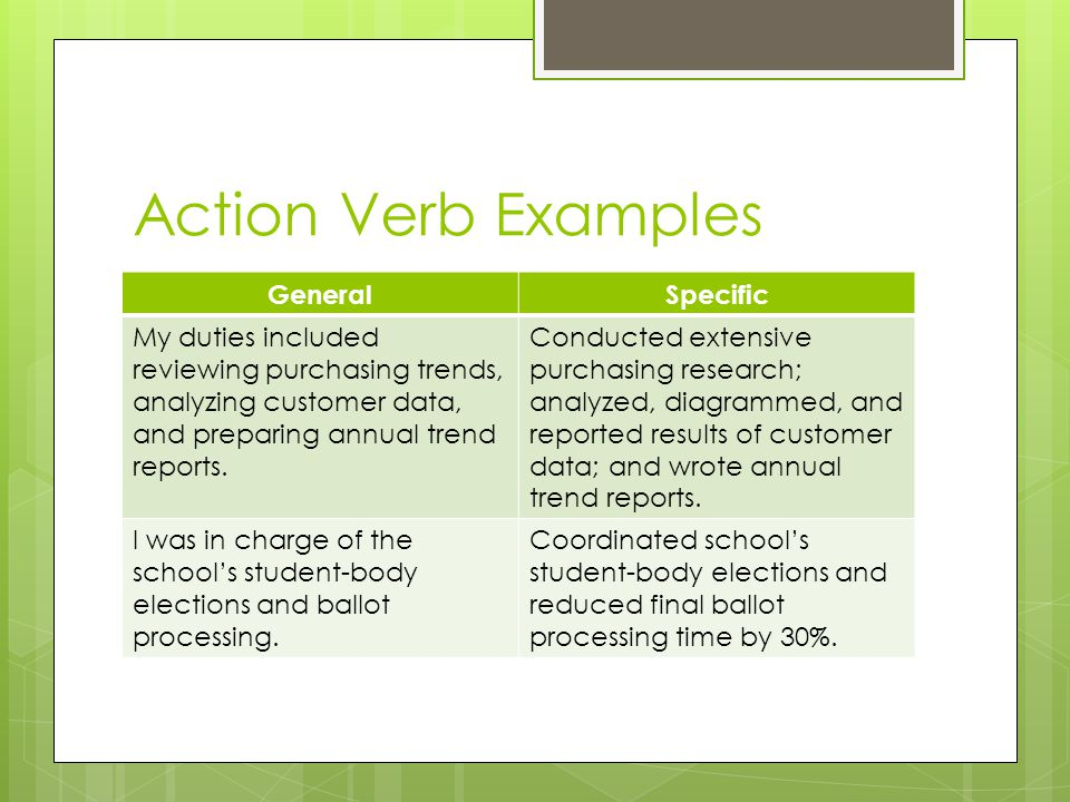 Action Verb Examples General Specific