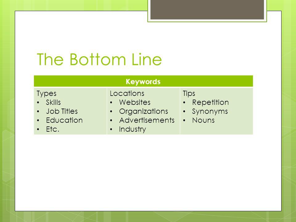 The Bottom Line Keywords Types Skills Job Titles Education Etc.