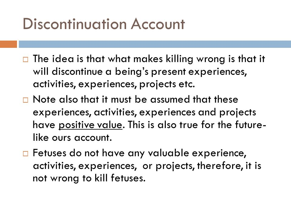Discontinuation Account