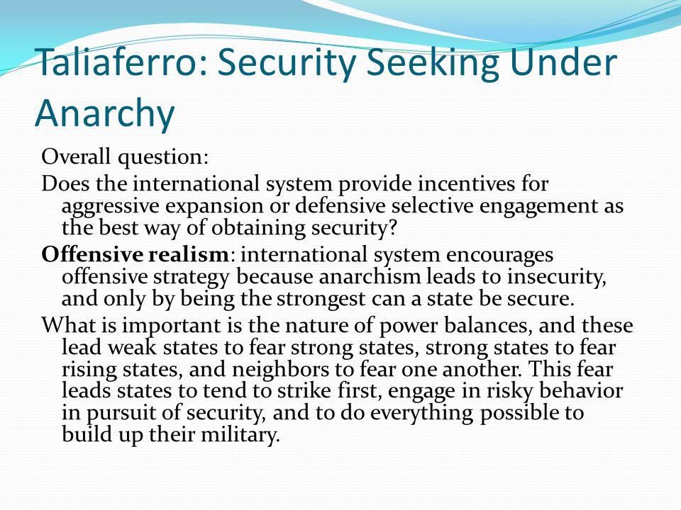 Taliaferro: Security Seeking Under Anarchy