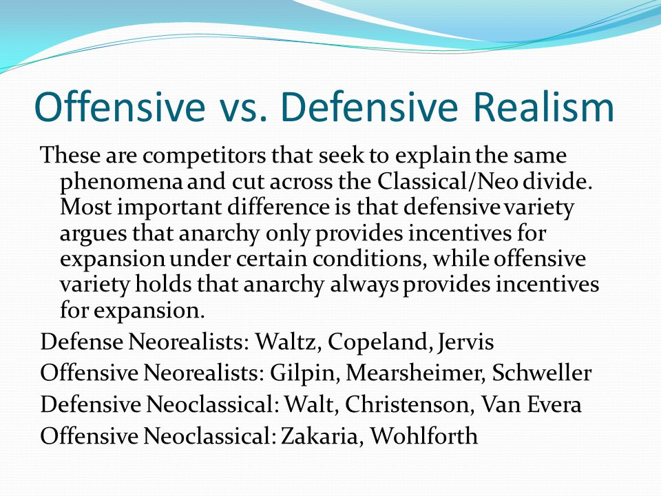 Offensive vs. Defensive Realism