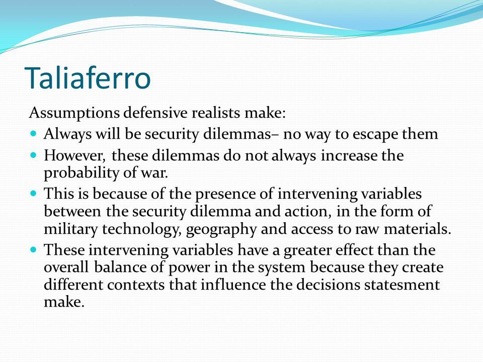 Taliaferro Assumptions defensive realists make: