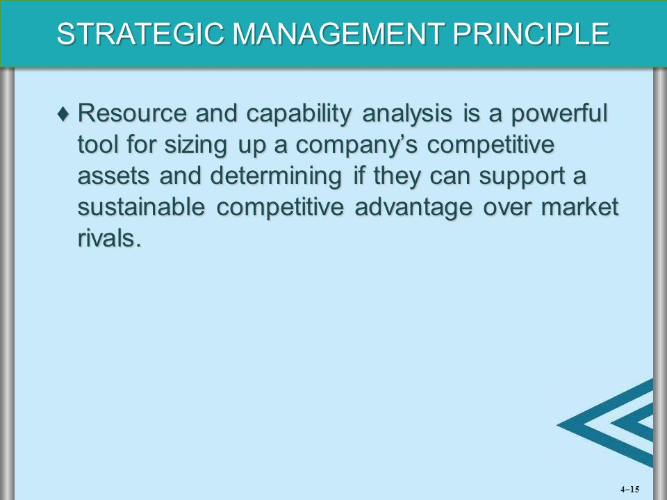 Resource and capability analysis is a powerful tool for sizing up a company's competitive assets and determining if they can support a sustainable competitive advantage over market rivals.