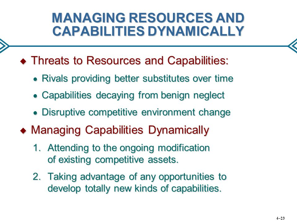 MANAGING RESOURCES AND CAPABILITIES DYNAMICALLY