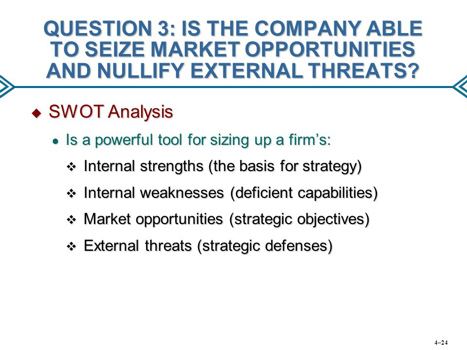 QUESTION 3: IS THE COMPANY ABLE TO SEIZE MARKET OPPORTUNITIES AND NULLIFY EXTERNAL THREATS