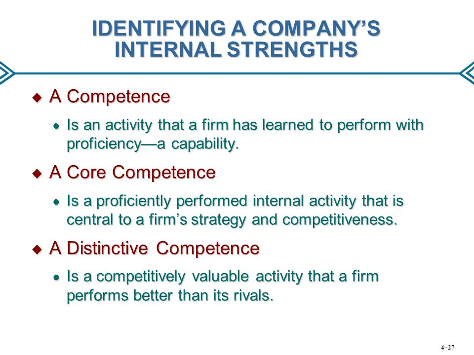 IDENTIFYING A COMPANY'S INTERNAL STRENGTHS