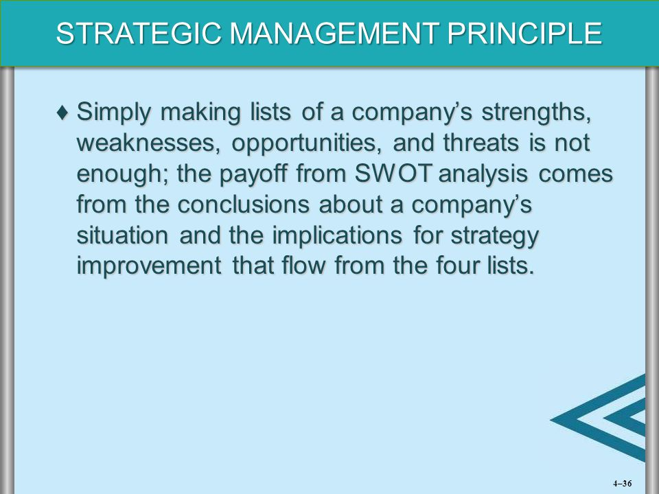 Simply making lists of a company's strengths, weaknesses, opportunities, and threats is not enough; the payoff from SWOT analysis comes from the conclusions about a company's situation and the implications for strategy improvement that flow from the four lists.