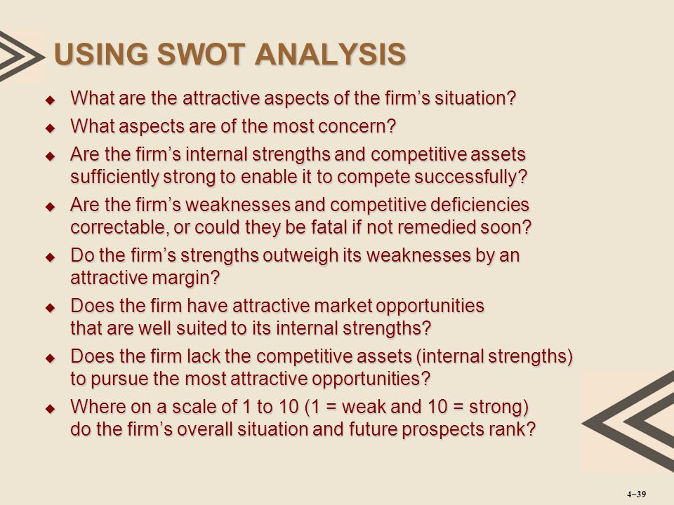 USING SWOT ANALYSIS What are the attractive aspects of the firm's situation What aspects are of the most concern