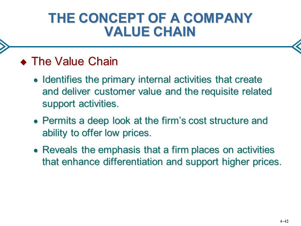 THE CONCEPT OF A COMPANY VALUE CHAIN