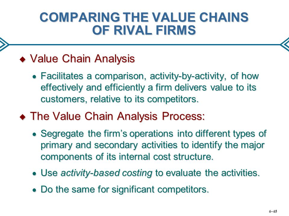 COMPARING THE VALUE CHAINS OF RIVAL FIRMS