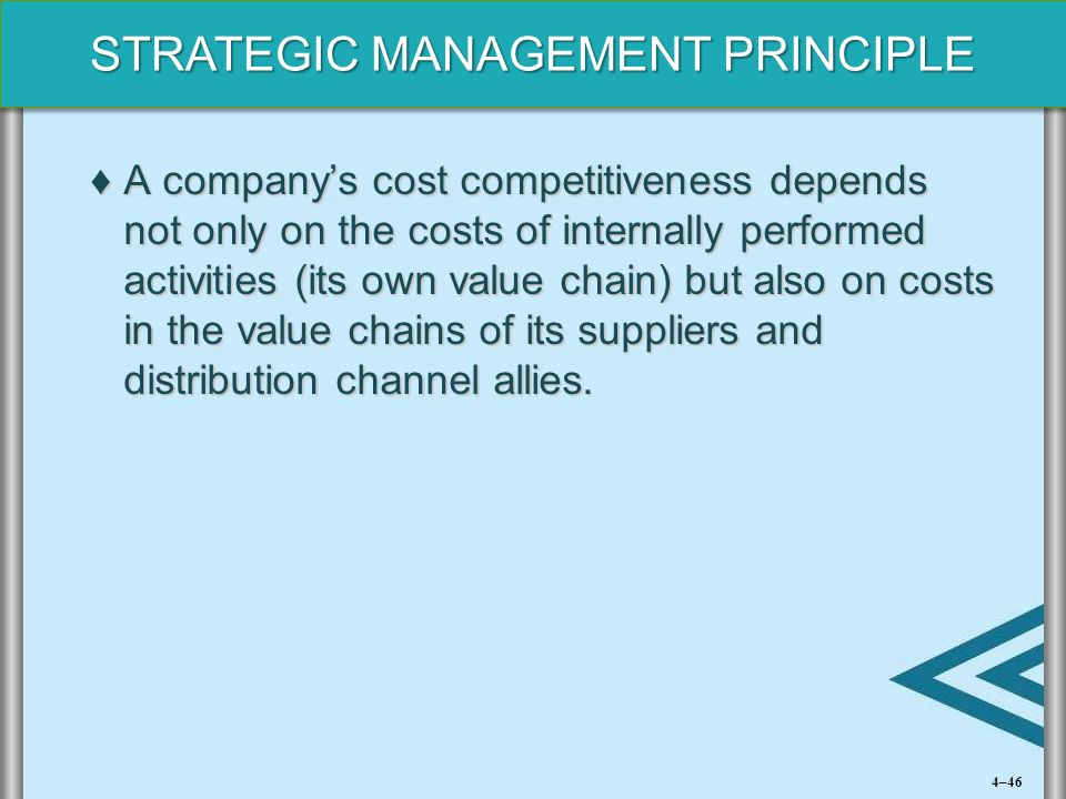 A company's cost competitiveness depends not only on the costs of internally performed activities (its own value chain) but also on costs in the value chains of its suppliers and distribution channel allies.