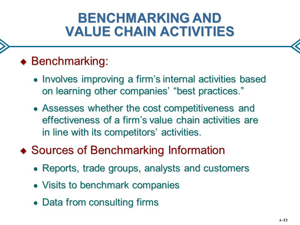 BENCHMARKING AND VALUE CHAIN ACTIVITIES