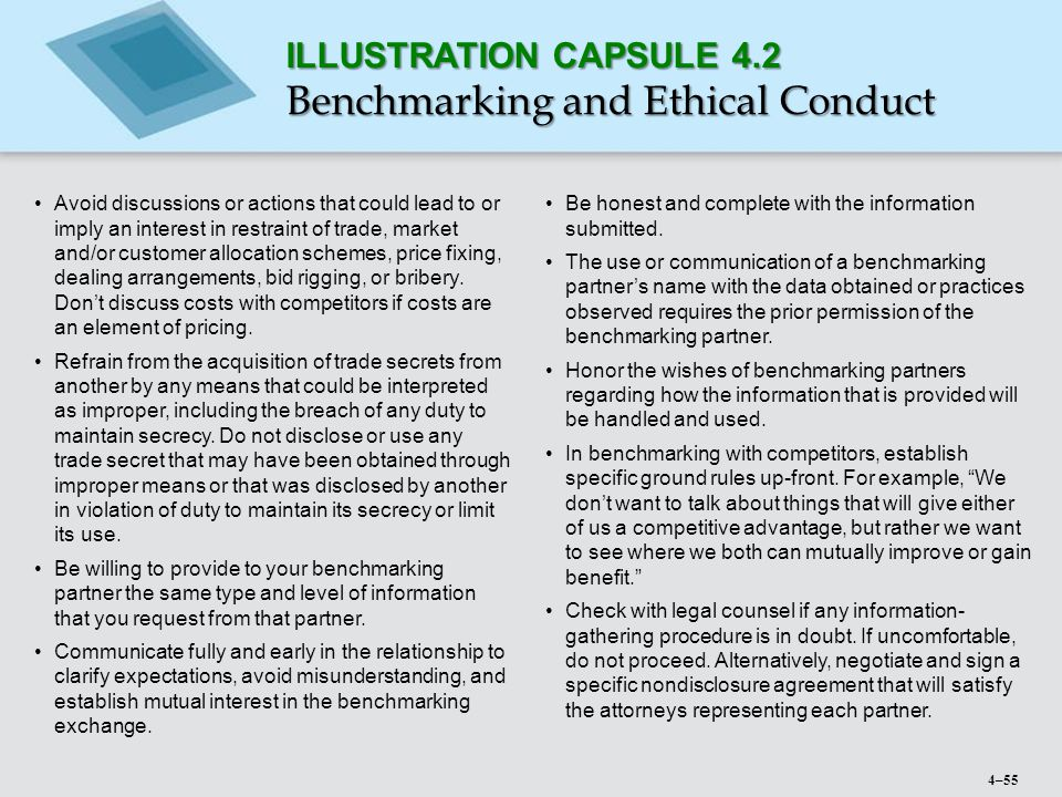 Benchmarking and Ethical Conduct