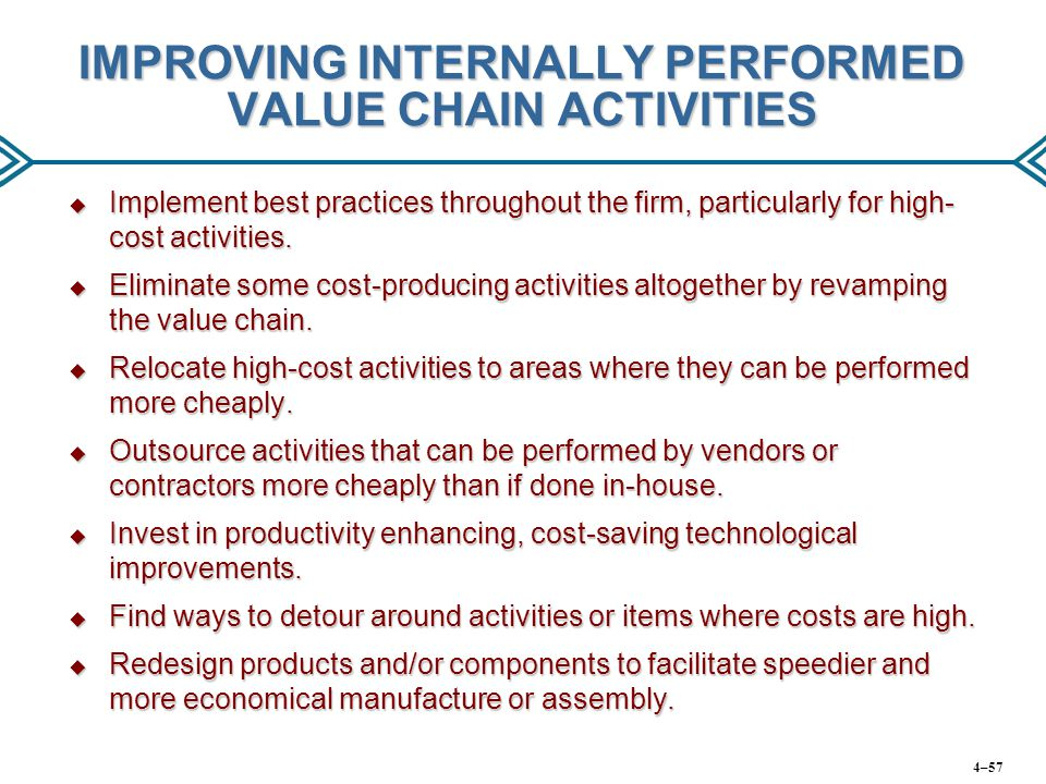 IMPROVING INTERNALLY PERFORMED VALUE CHAIN ACTIVITIES