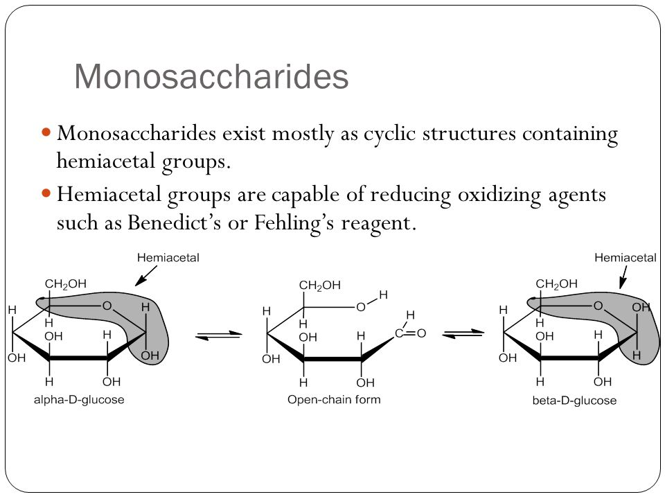 Monosaccharides Monosaccharides exist mostly as cyclic structures containing hemiacetal groups.