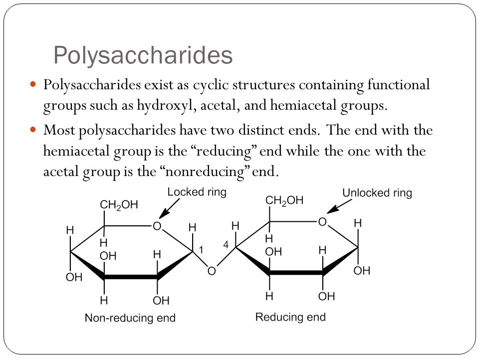Polysaccharides Polysaccharides exist as cyclic structures containing functional groups such as hydroxyl, acetal, and hemiacetal groups.