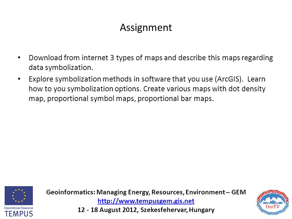 Assignment Download from internet 3 types of maps and describe this maps regarding data symbolization.