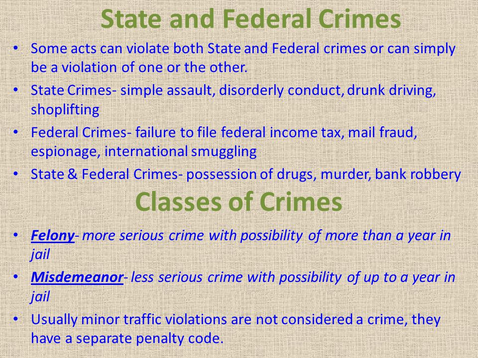 State and Federal Crimes