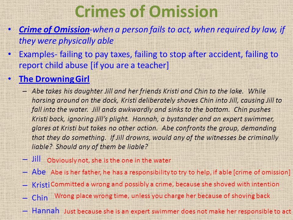 Crimes of Omission Crime of Omission-when a person fails to act, when required by law, if they were physically able.
