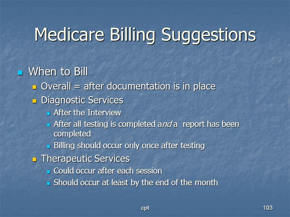 Medicare Billing Suggestions