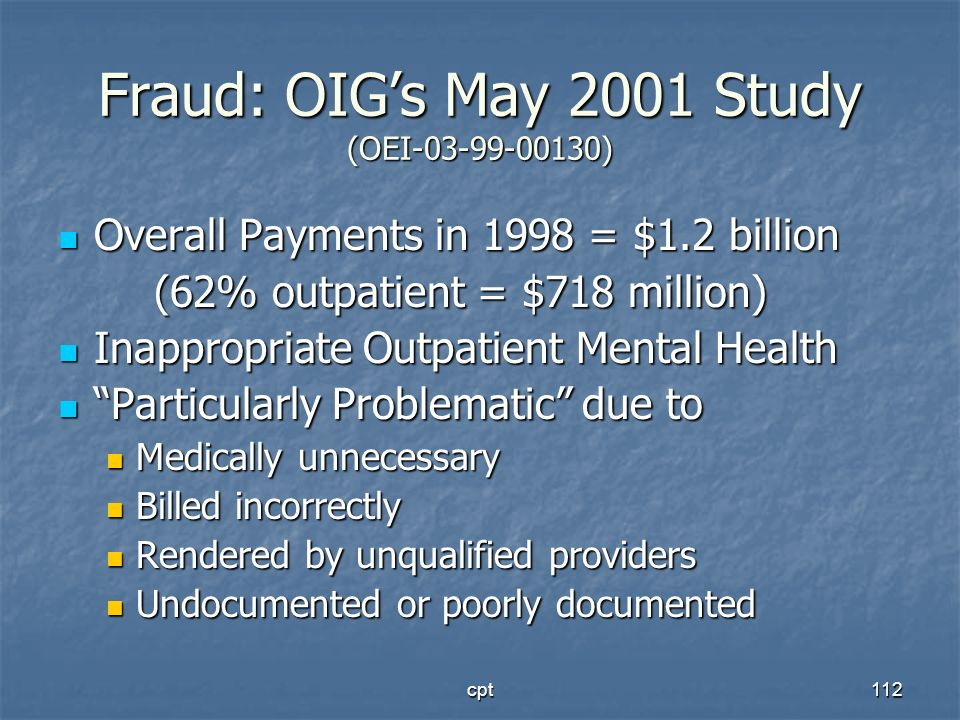Fraud: OIG's May 2001 Study (OEI-03-99-00130)