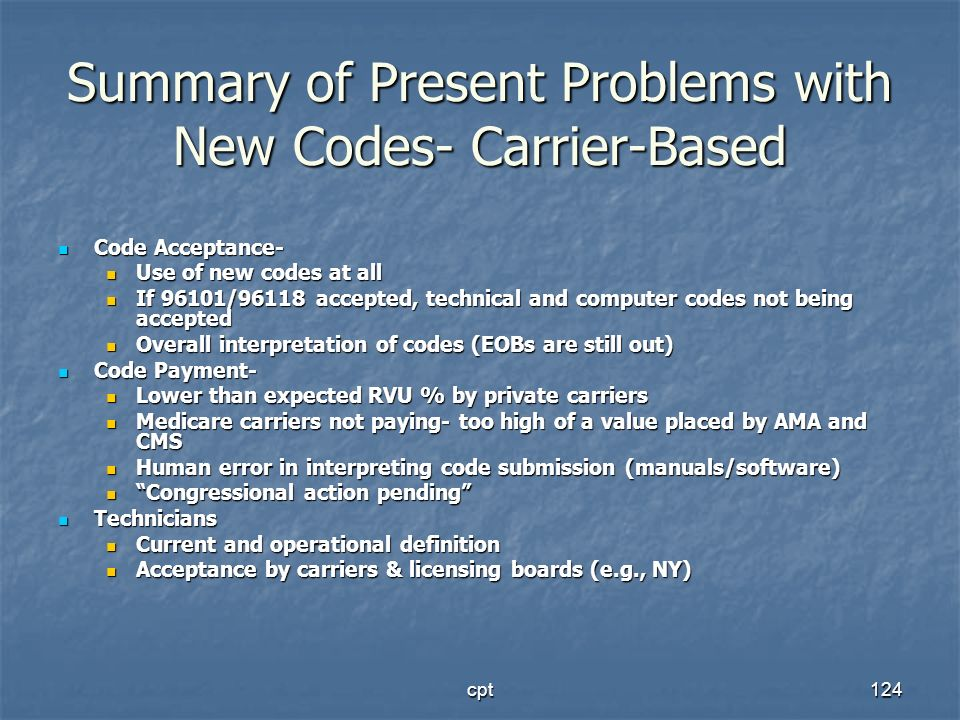 Summary of Present Problems with New Codes- Carrier-Based