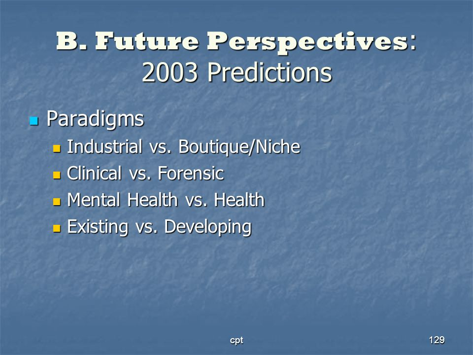 B. Future Perspectives: 2003 Predictions