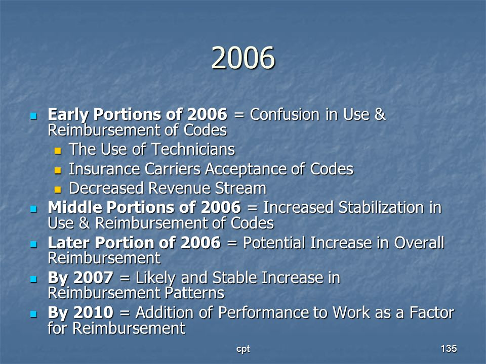 2006Early Portions of 2006 = Confusion in Use & Reimbursement of Codes. The Use of Technicians. Insurance Carriers Acceptance of Codes.