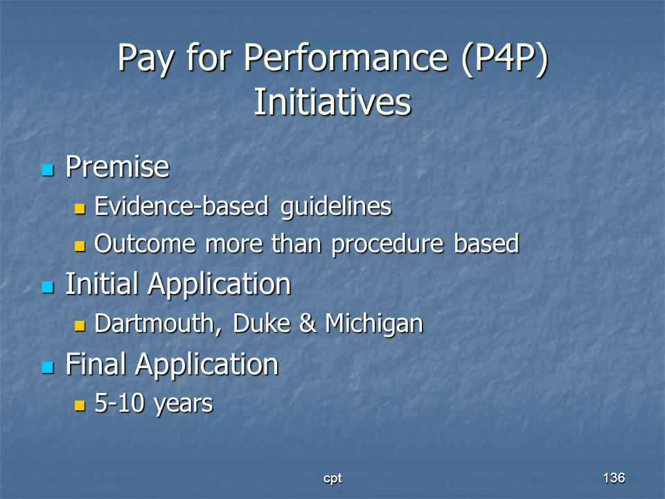 Pay for Performance (P4P) Initiatives