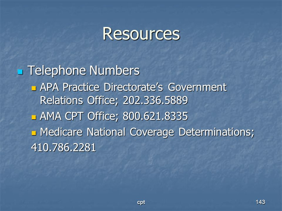 Resources Telephone Numbers