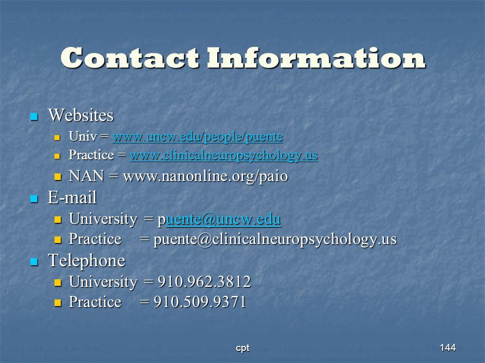 Contact InformationWebsites. Univ = www.uncw.edu/people/puente. Practice = www.clinicalneuropsychology.us.