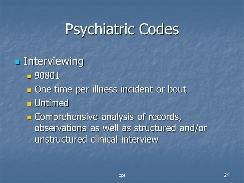 Psychiatric Codes Interviewing 90801