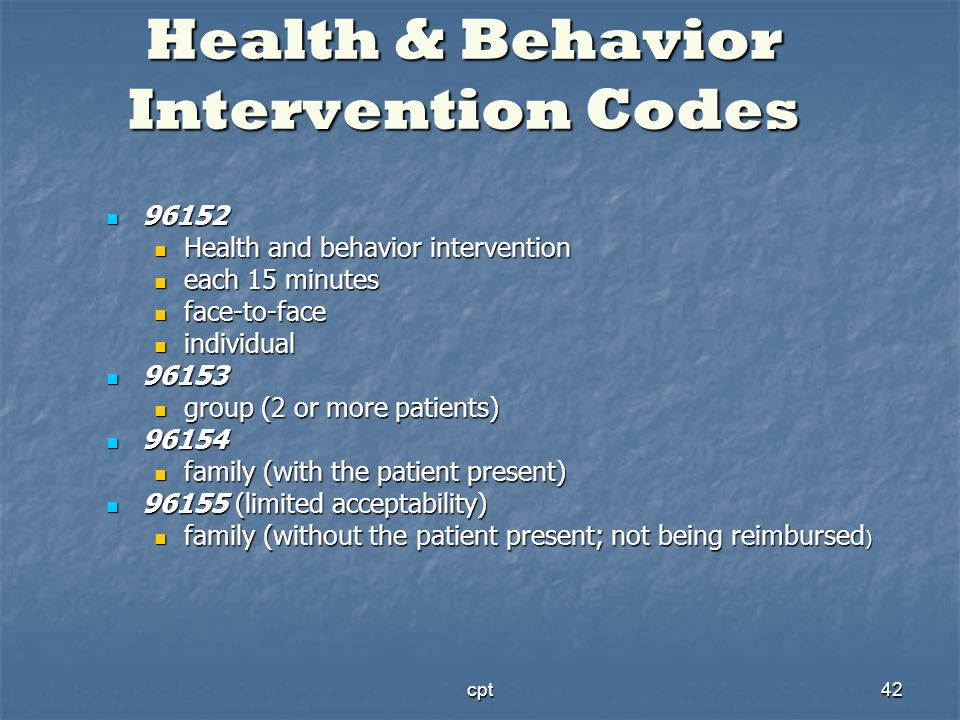 Health & Behavior Intervention Codes