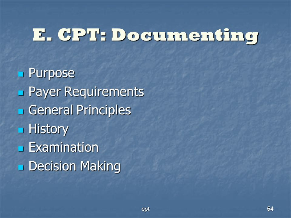 E. CPT: Documenting Purpose Payer Requirements General Principles