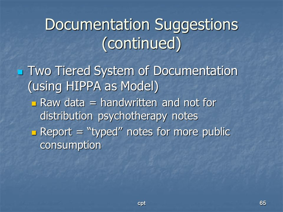 Documentation Suggestions (continued)