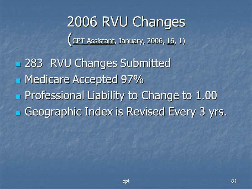 2006 RVU Changes (CPT Assistant, January, 2006, 16, 1)