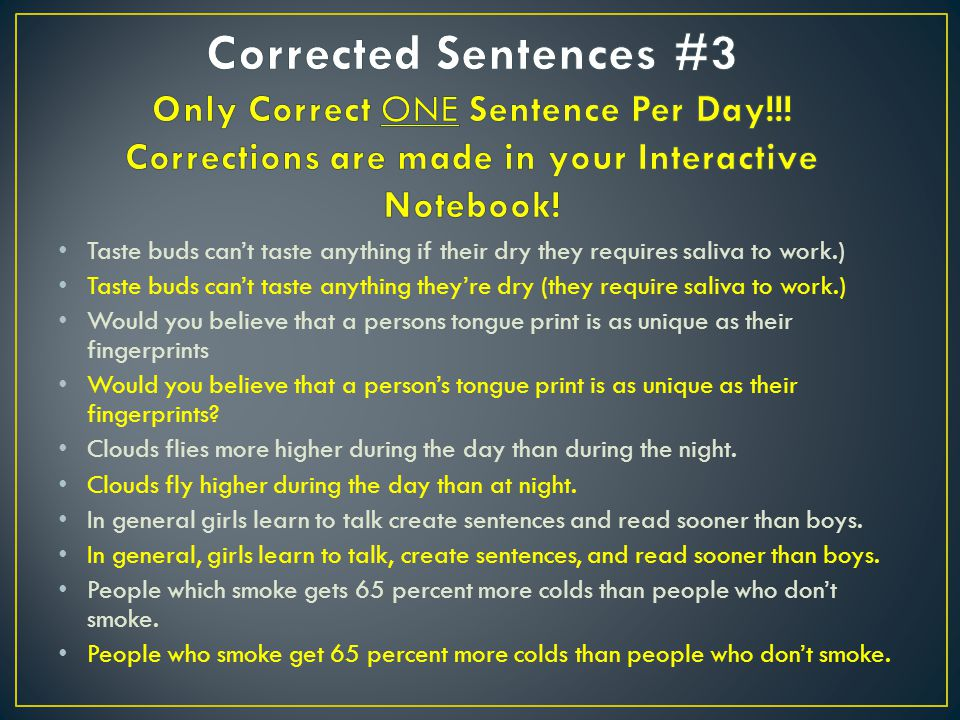 Corrected Sentences #3 Only Correct ONE Sentence Per Day
