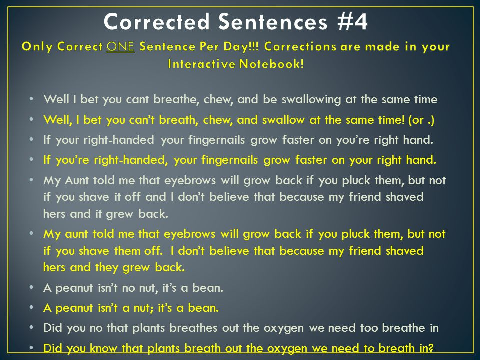 Corrected Sentences #4 Only Correct ONE Sentence Per Day