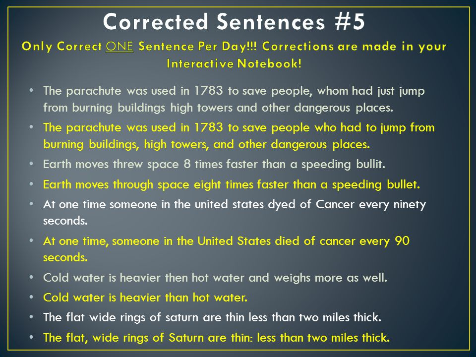 Corrected Sentences #5 Only Correct ONE Sentence Per Day