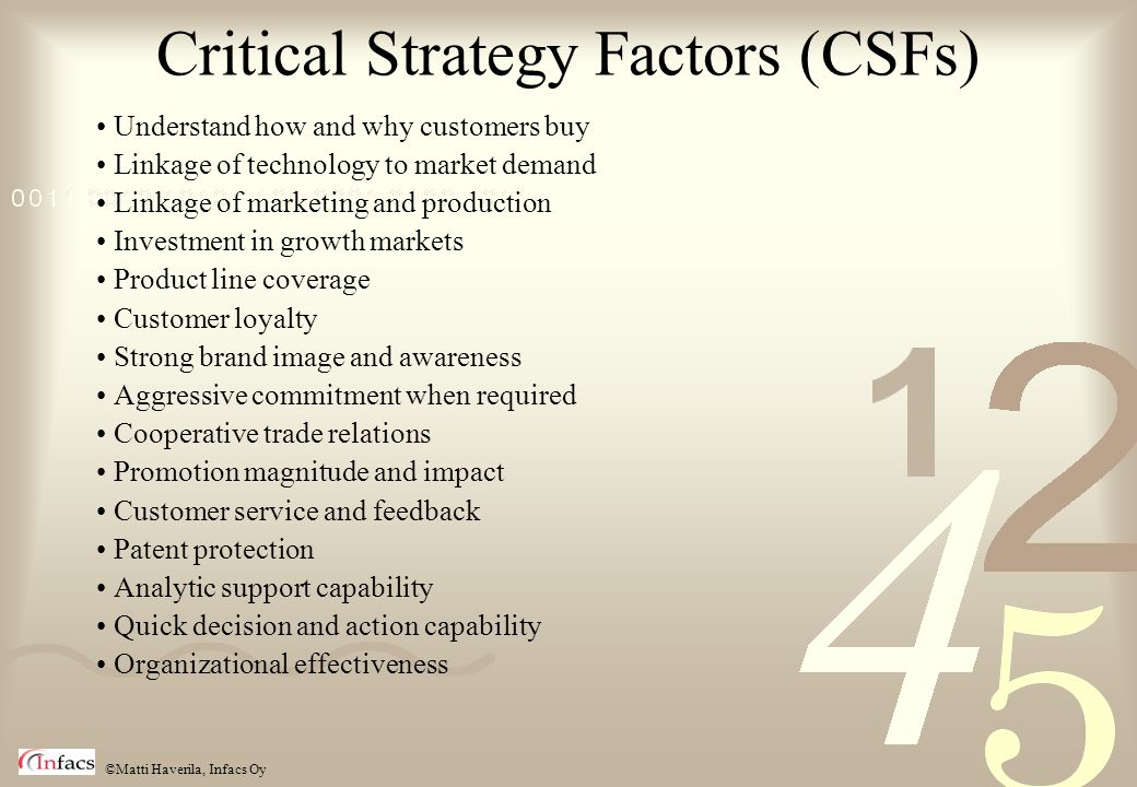 Critical Strategy Factors (CSFs)