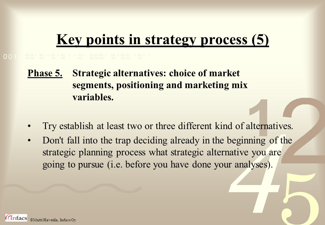 Key points in strategy process (5)