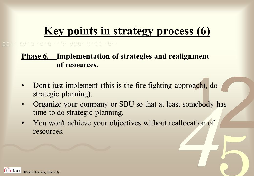 Key points in strategy process (6)