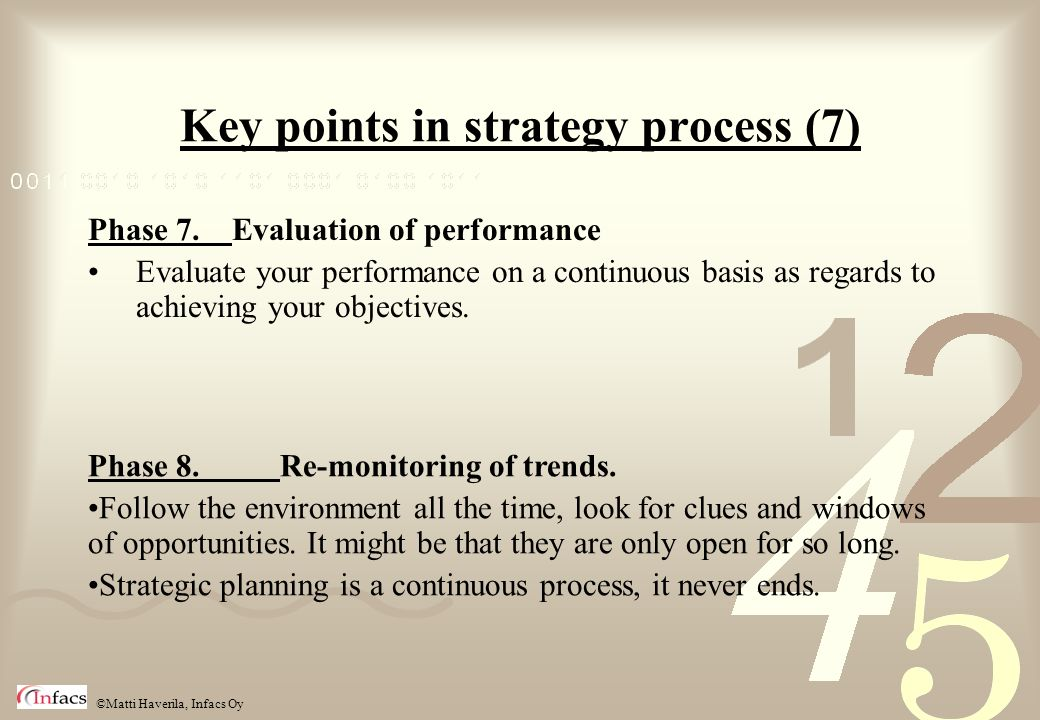 Key points in strategy process (7)