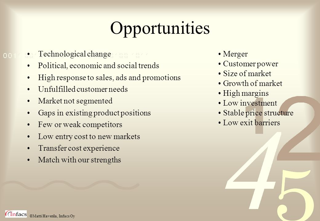 Opportunities Technological change